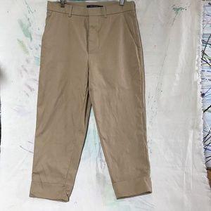 Sz 38 Sophie D'Hoore Khaki cropped cuff pants EUC